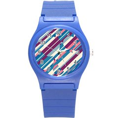 Blue and pink pattern Round Plastic Sport Watch (S)