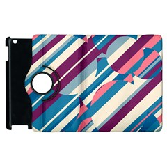 Blue and pink pattern Apple iPad 3/4 Flip 360 Case