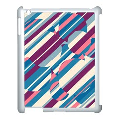 Blue and pink pattern Apple iPad 3/4 Case (White)