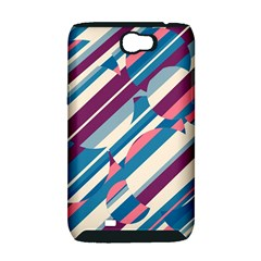 Blue and pink pattern Samsung Galaxy Note 2 Hardshell Case (PC+Silicone)