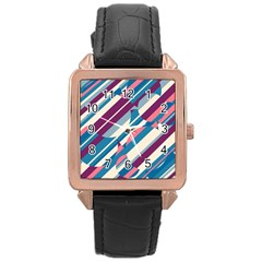 Blue and pink pattern Rose Gold Leather Watch