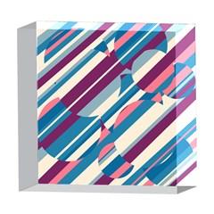 Blue and pink pattern 5  x 5  Acrylic Photo Blocks