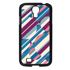 Blue and pink pattern Samsung Galaxy S4 I9500/ I9505 Case (Black)