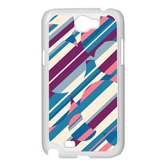 Blue and pink pattern Samsung Galaxy Note 2 Case (White)