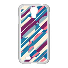 Blue and pink pattern Samsung GALAXY S4 I9500/ I9505 Case (White)