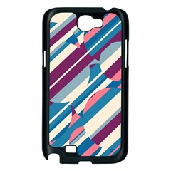 Blue and pink pattern Samsung Galaxy Note 2 Case (Black)