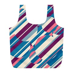 Blue and pink pattern Full Print Recycle Bags (L)