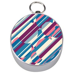 Blue and pink pattern Silver Compasses
