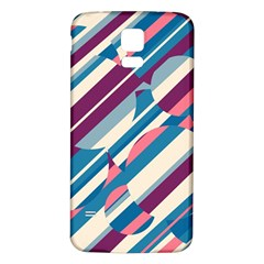 Blue and pink pattern Samsung Galaxy S5 Back Case (White)