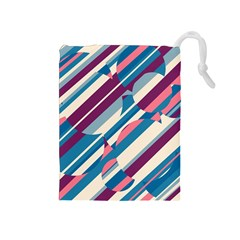 Blue and pink pattern Drawstring Pouches (Medium)