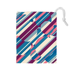 Blue and pink pattern Drawstring Pouches (Large)