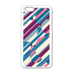 Blue and pink pattern Apple iPhone 6/6S White Enamel Case