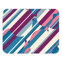 Blue and pink pattern Double Sided Flano Blanket (Large)