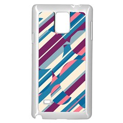 Blue and pink pattern Samsung Galaxy Note 4 Case (White)