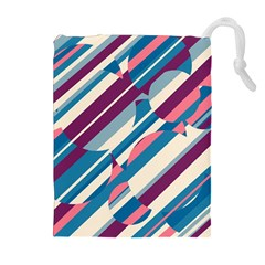 Blue and pink pattern Drawstring Pouches (Extra Large)