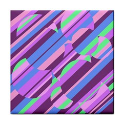 Pink, purple and green pattern Tile Coasters