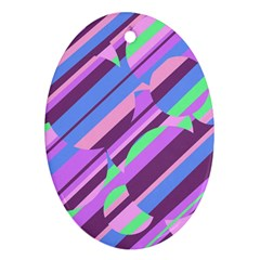 Pink, purple and green pattern Ornament (Oval)