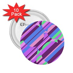 Pink, purple and green pattern 2.25  Buttons (10 pack)