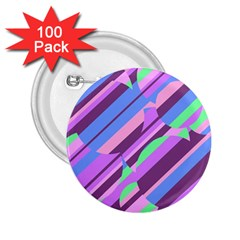Pink, purple and green pattern 2.25  Buttons (100 pack)