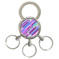 Pink, purple and green pattern 3-Ring Key Chains