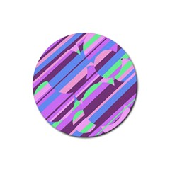 Pink, purple and green pattern Rubber Round Coaster (4 pack)