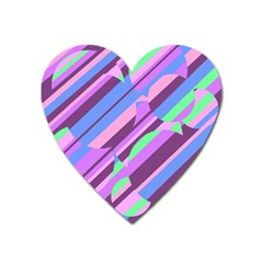 Pink, purple and green pattern Heart Magnet
