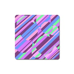Pink, purple and green pattern Square Magnet