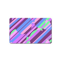 Pink, purple and green pattern Magnet (Name Card)