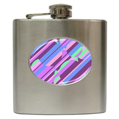 Pink, purple and green pattern Hip Flask (6 oz)