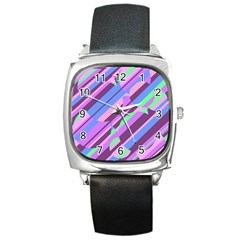 Pink, purple and green pattern Square Metal Watch