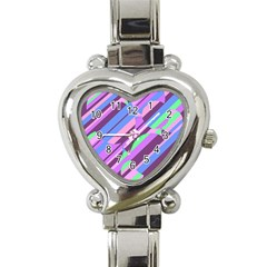 Pink, purple and green pattern Heart Italian Charm Watch