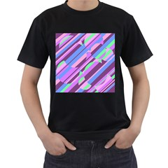 Pink, purple and green pattern Men s T-Shirt (Black) (Two Sided)
