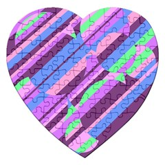 Pink, purple and green pattern Jigsaw Puzzle (Heart)