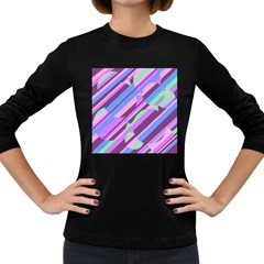 Pink, purple and green pattern Women s Long Sleeve Dark T-Shirts