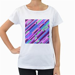 Pink, purple and green pattern Women s Loose-Fit T-Shirt (White)