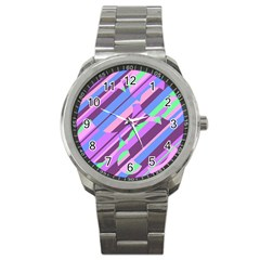 Pink, purple and green pattern Sport Metal Watch