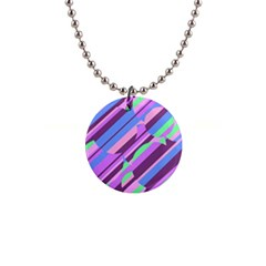 Pink, purple and green pattern Button Necklaces