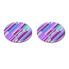 Pink, purple and green pattern Cufflinks (Oval)