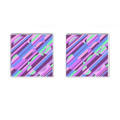 Pink, purple and green pattern Cufflinks (Square)