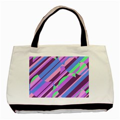 Pink, purple and green pattern Basic Tote Bag
