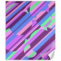 Pink, purple and green pattern Canvas 8  x 10