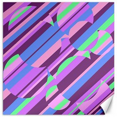 Pink, purple and green pattern Canvas 20  x 20