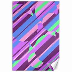 Pink, purple and green pattern Canvas 20  x 30