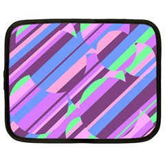 Pink, purple and green pattern Netbook Case (Large)