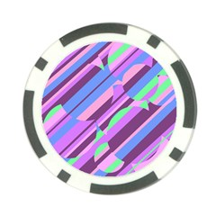 Pink, purple and green pattern Poker Chip Card Guards (10 pack)