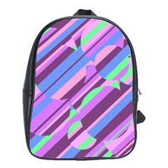 Pink, purple and green pattern School Bags(Large)