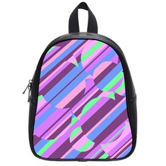 Pink, purple and green pattern School Bags (Small)