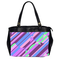 Pink, purple and green pattern Office Handbags (2 Sides)