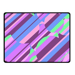 Pink, purple and green pattern Fleece Blanket (Small)