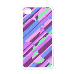 Pink, purple and green pattern Apple iPhone 4 Case (White)